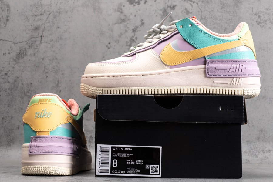 Nike Womens Air Force 1 Shadow Pale Ivory Celestial Gold CI0919-101 Cheap Sale