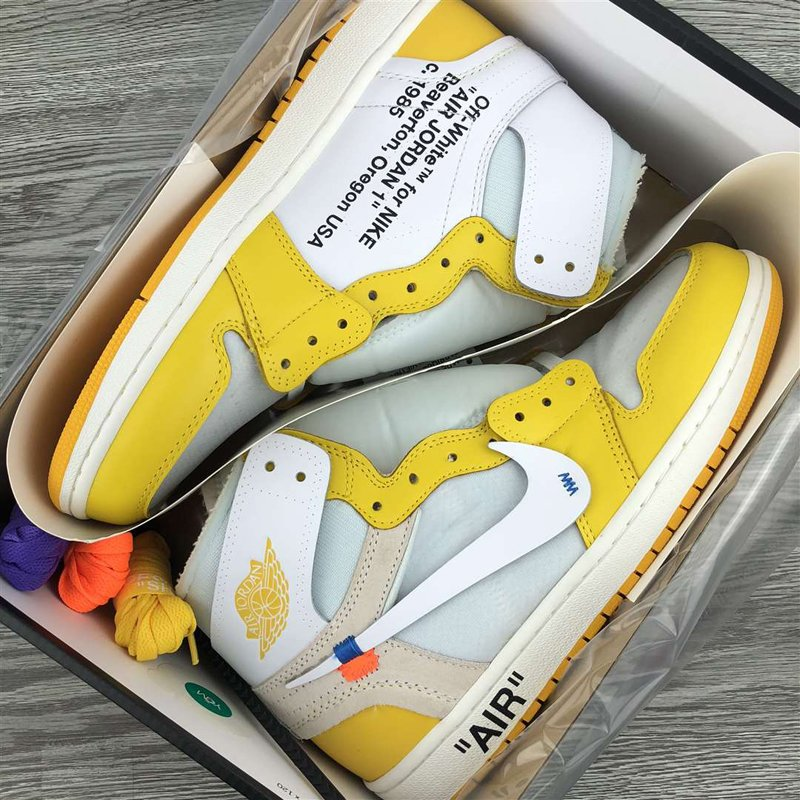 Custom Air Jordan 1 X OFF-WHITE In Yellow and White New Sale