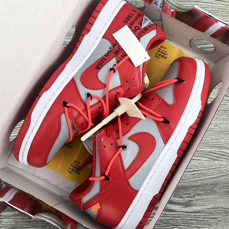 Off-White x Nike Dunk Low Red Grey CT0856-600 New Sale