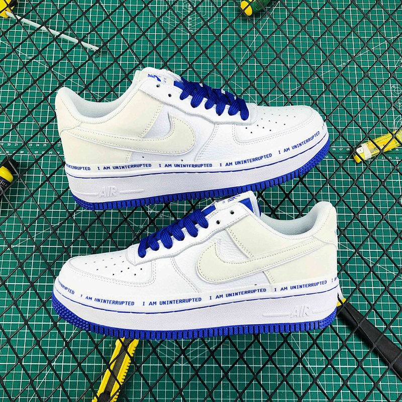 Uninterrupted x Nike Air Force 1 Low MTAA White Game Royal New Sale