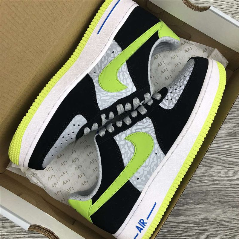Nike Air Force 1 Low Reflect Silver Volt-Black 488298-077 New Sale