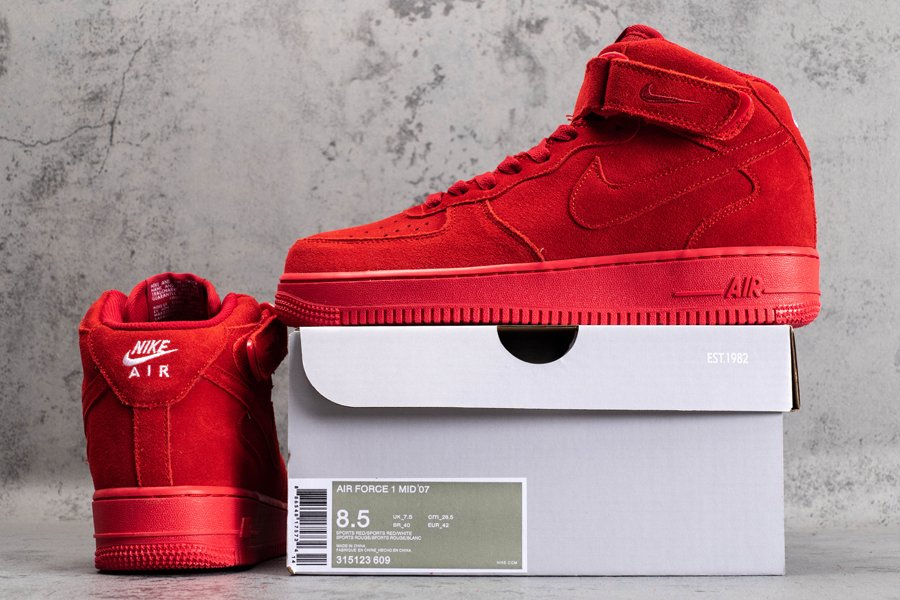 315123-609 Air Force 1 Mid 07 Red October Gym Red New Sale