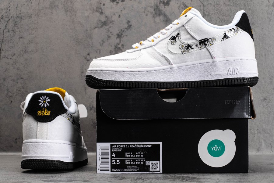 CW5859-100 Nike Air Force 1 Low Daisy Flower White Black New Sale