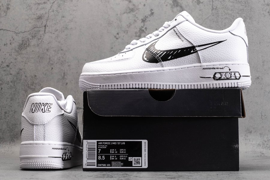 CW7581-101 Nike Air Force 1 Low Sketch White Black New Sale