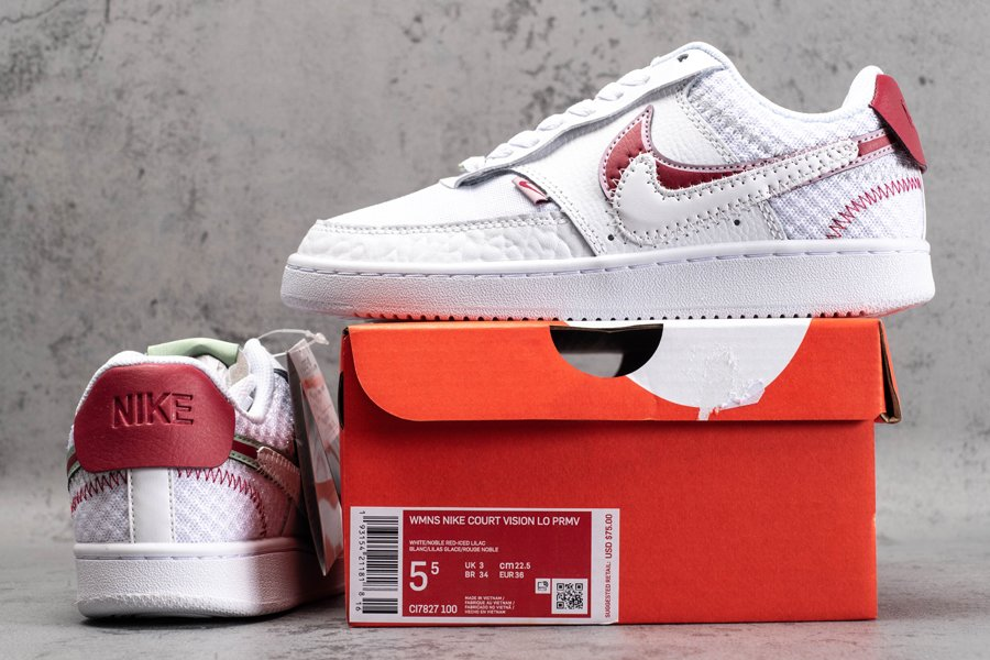 Womens Nike Court Vision Low Premium White Noble Red-Iced Lila New Sale