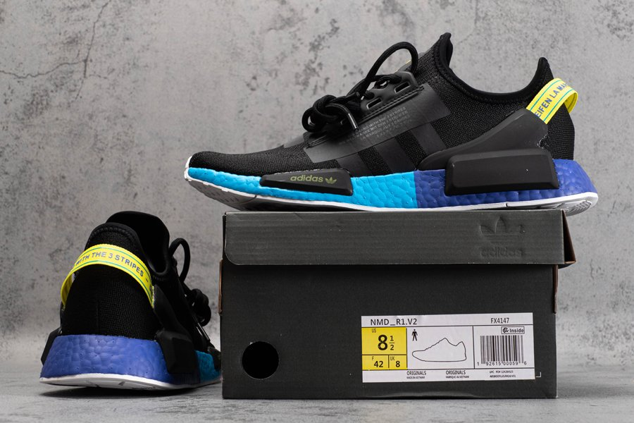 adidas NMD_R1 V2 Core Black Carbon-Shock Yellow FX4147 New Sale