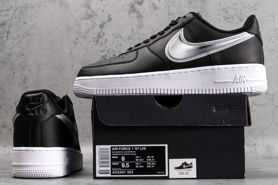 AO2441-003 Nike Air Force 1 Low Oversized Swooshes In Black