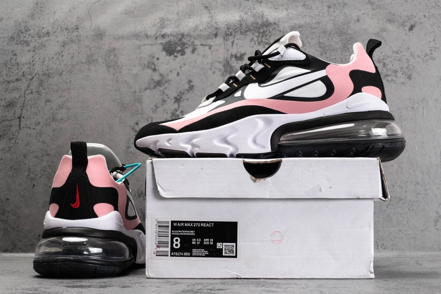 AT6174-005 Nike Air Max 270 React Bleached Coral Black Shy Pink Sale
