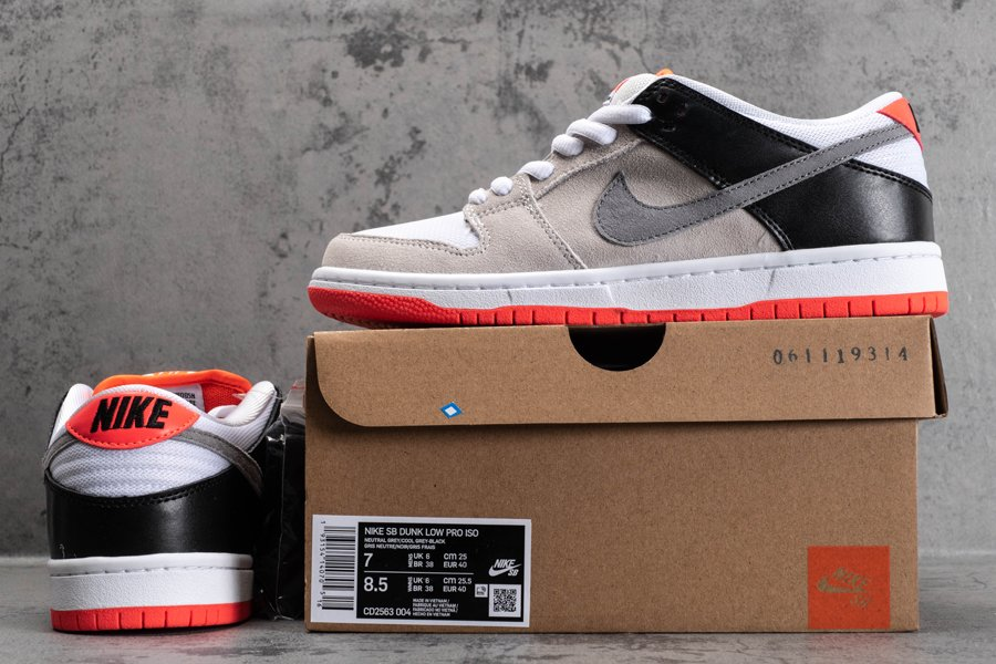 CD2563-004 Nike SB Dunk Low Infrared Neutral Grey Black New Sale