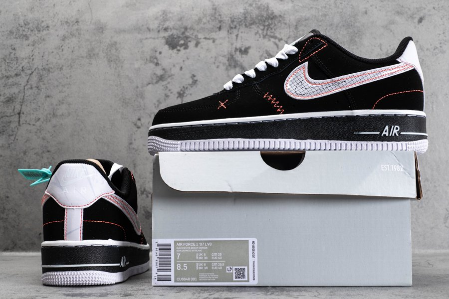 CU6646-001 Schematic Nike Air Force 1 Low Exposed Stitching Black New Sale