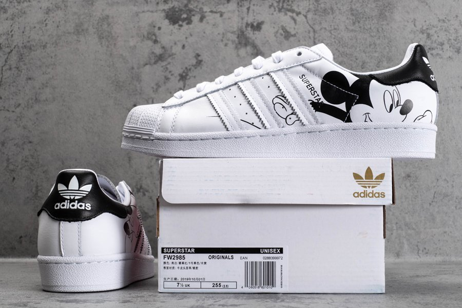 adidas Superstar Mickey Mouse White Black New Sale