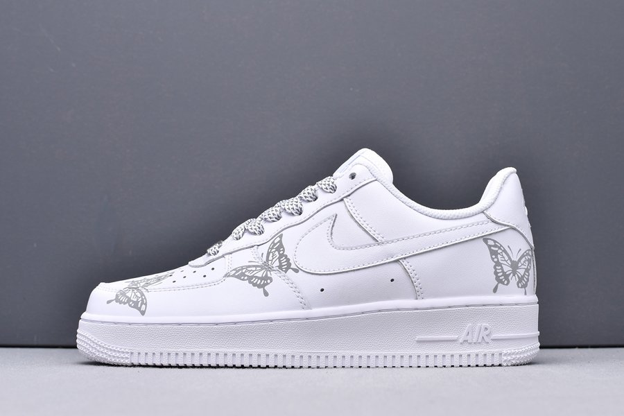 3M Reflective Nike Air Force 1 Low With Butterfly Print In White New Sale