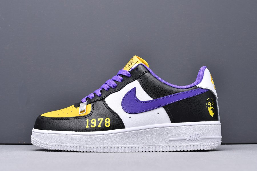 Buy Limited Edition Nike Air Force 1 Low Kobe Black White Purple Yellow