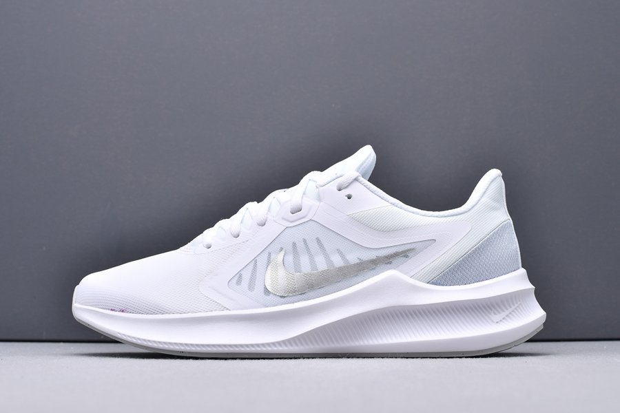 CI9984-100 Nike Downshifter 10 White Silver Running Shoes New Sale