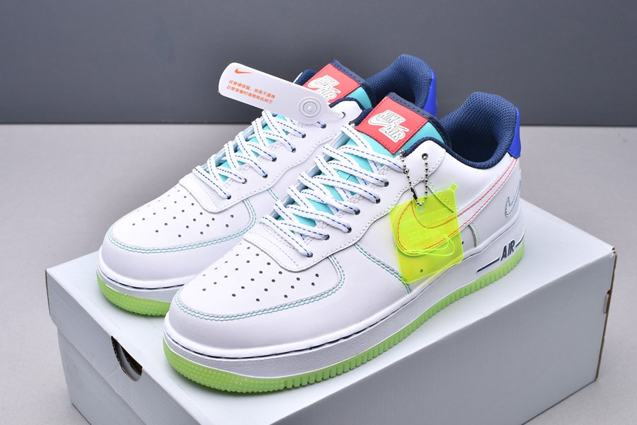 CV2421-100 Nike Air Force 1 Low Outside the Lines White Green Blue New Sale