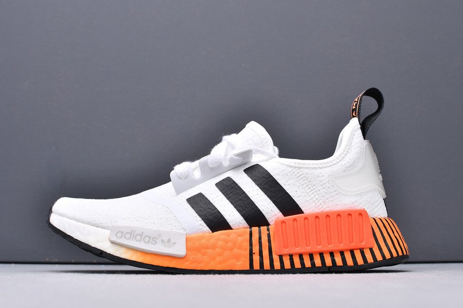 FV3648 adidas NMD R1 Primeknit Casual Shoes White Black-Solar Red New Sale