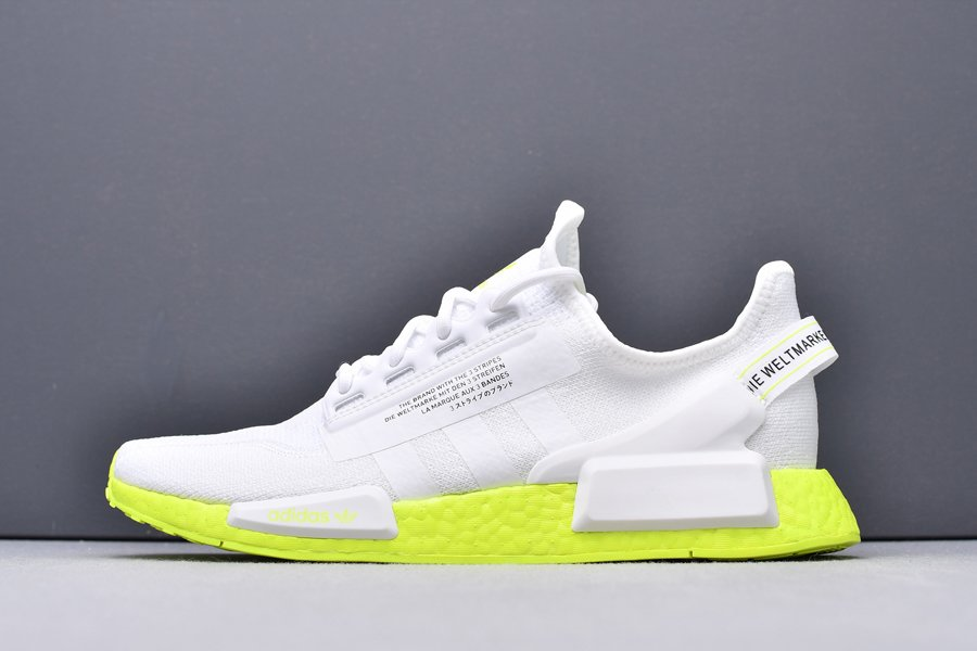 FX3903 adidas NMD R1 V2 White and Volt New Sale