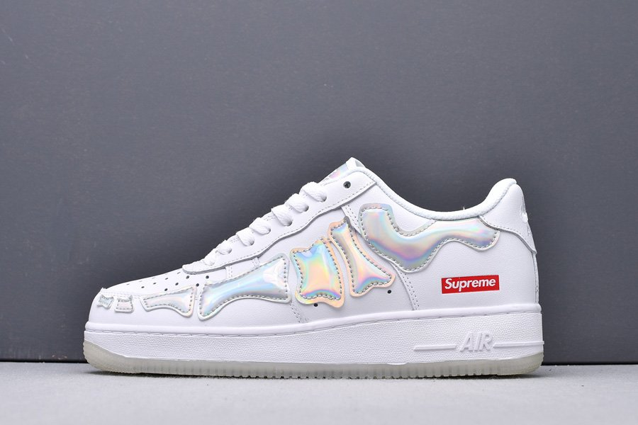 Supreme x Nike Air Force 1 Low Skeleton White Laser Silver New Sale