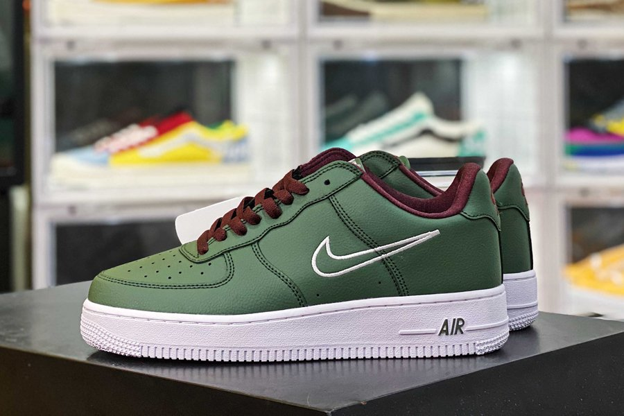 845053-300 Nike Air Force 1 Low Dark Forest Green Burgundy-White