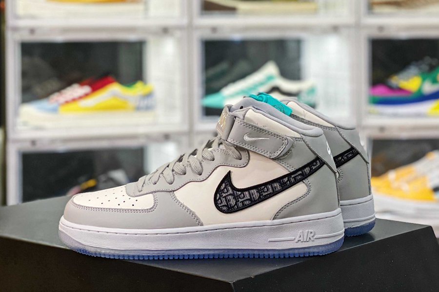 Nike Air Force 1 Mid Dior White Grey New Sale