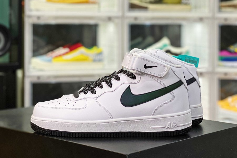 Nike Air Force 1 Mid White Navy Iridescent Swoosh New Sale