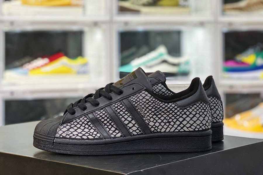 atmos x adidas Superstar G-SNK Reflective Snake In Black New Sale