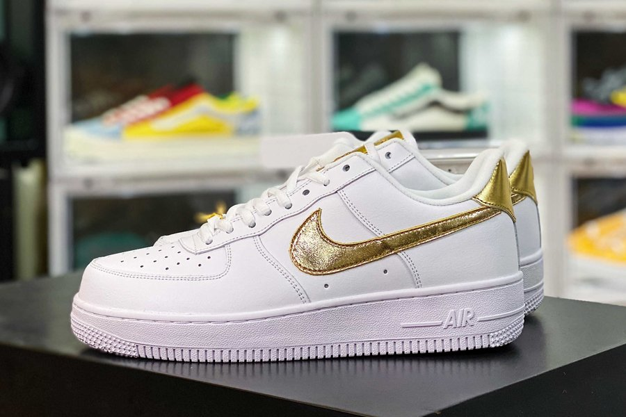 DC2181-100 Air Force 1 Low Gold Swooshes White Metallic Gold