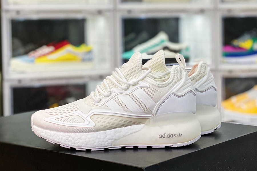 FX8834 adidas ZX 2K Boost All White Casual Lifestyle Shoes To Buy