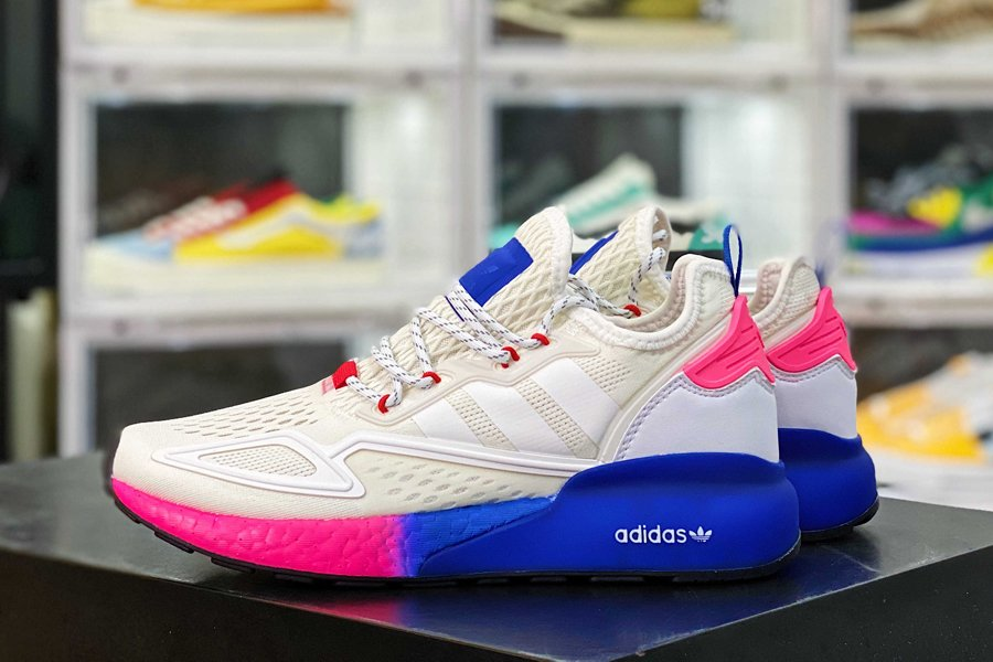 FY0605 adidas ZX 2K Boost Cloud White Shock Pink-Blue Casual Shoes