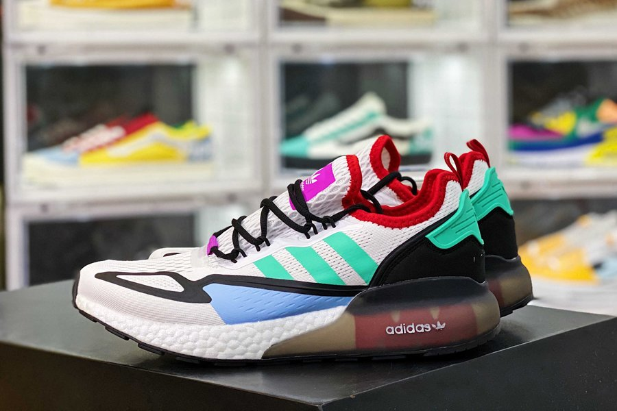 adidas ZX 2K Boost White Black Teal Red New Sale