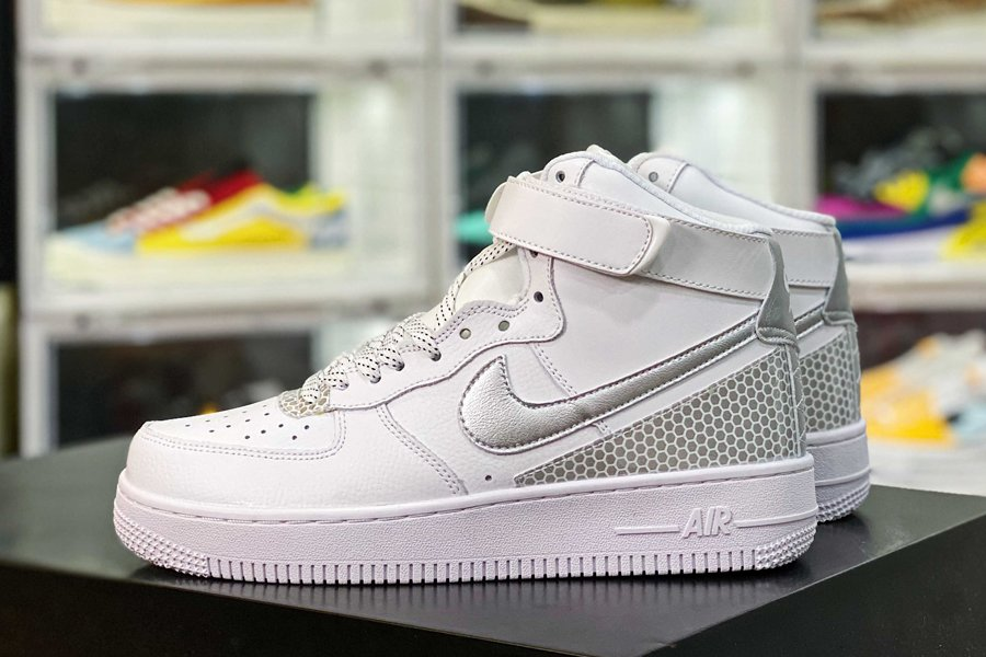 CU4159-100 White Nike Air Force 1 High Covered In 3M Reflective