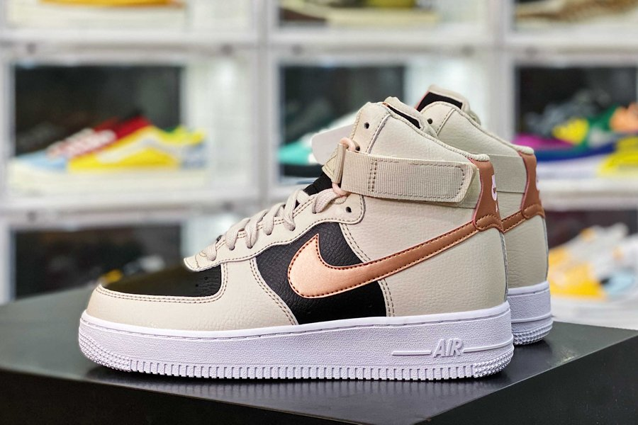 DB5080-100 Nike Air Force 1 High Beige Black With Copper Swooshes