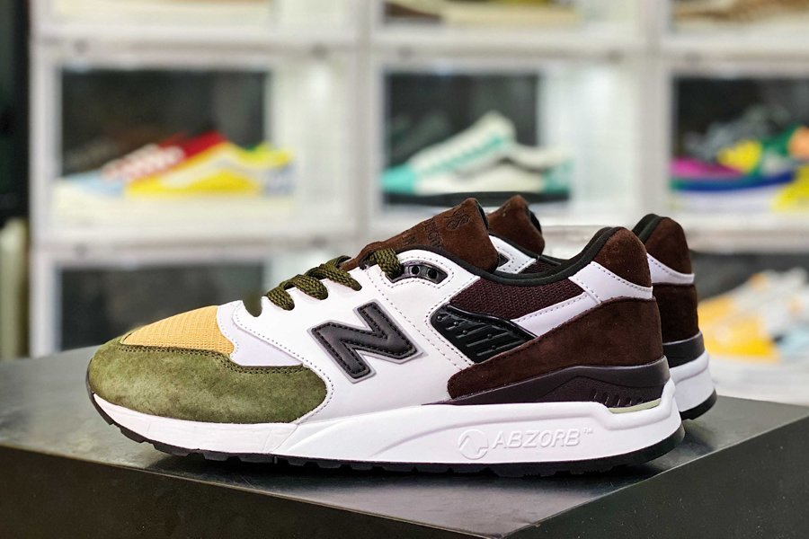 New Balance 998 White Brown Olive Yellow New Sale