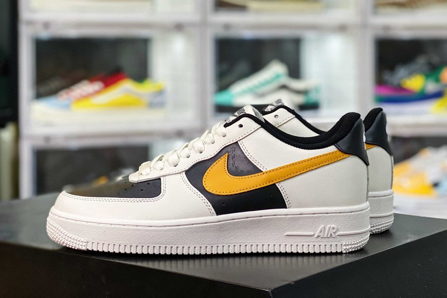 Nike Air Force 1 07 Low Beige Black Yellow New Sale