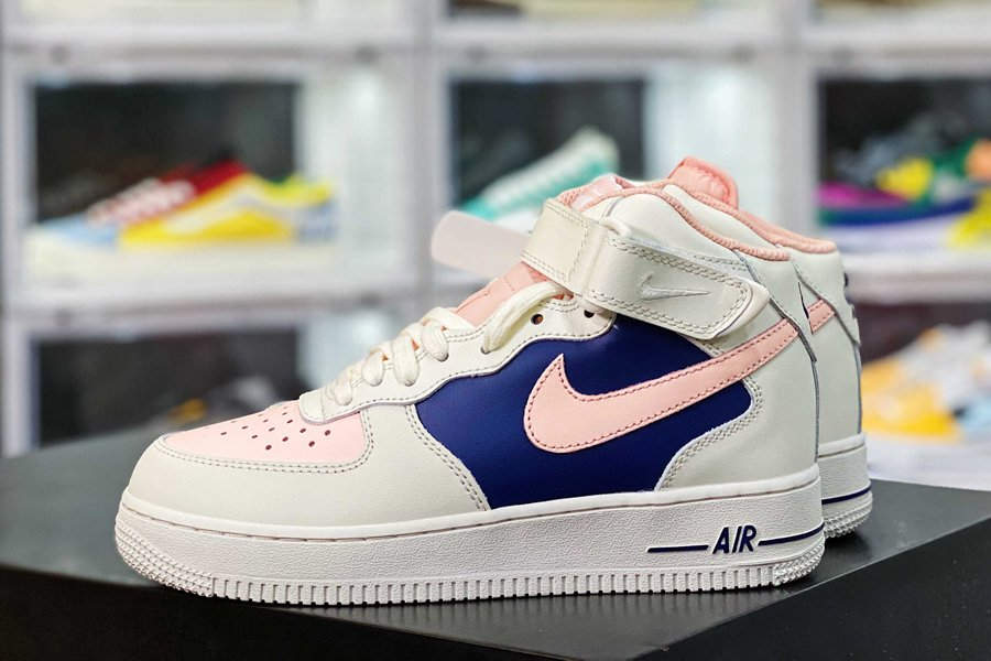 Nike Air Force 1 07 Mid White Navy Pink New Sale