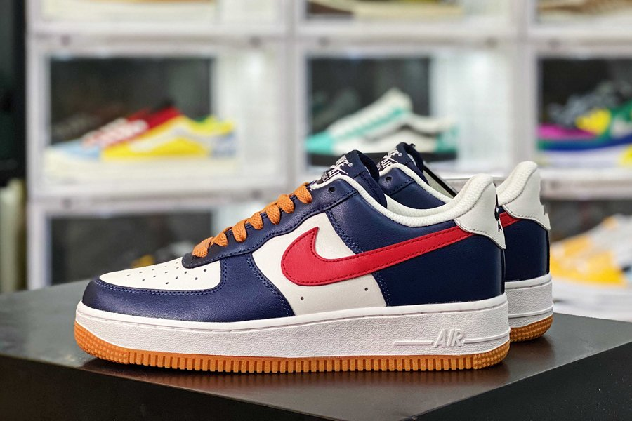 Nike Air Force 1 Low Obsidian White Red With Gum Sole