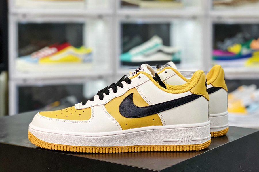 Nike Air Force 1 Low White Yellow Black New Sale