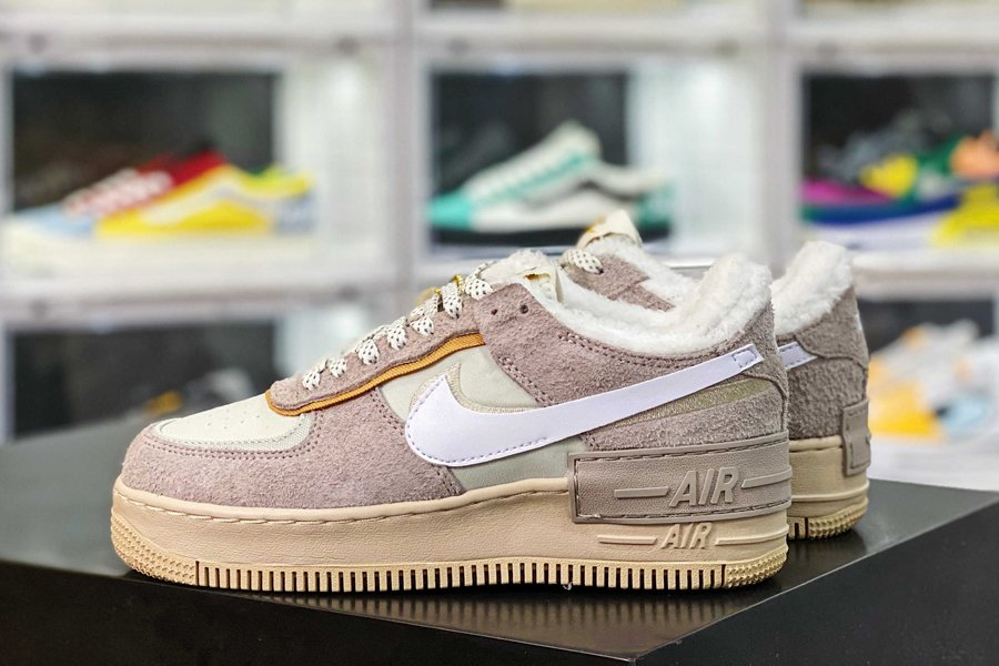 DC5270-016 Fur-Lined Air Force 1 Shadow Wild Beige Suede New Sale