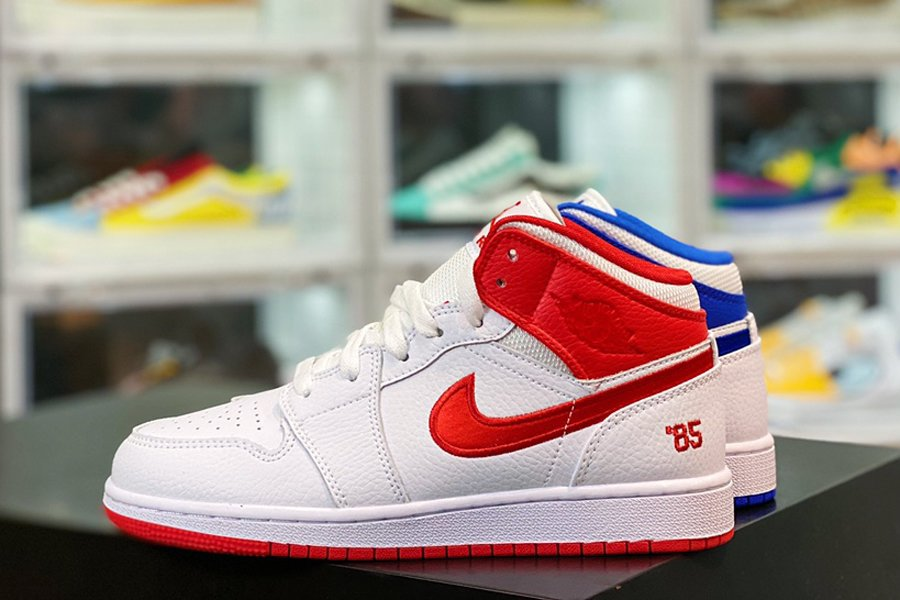 DH0200-100 Mismatched Air Jordan 1 Mid 85 White Red Blue