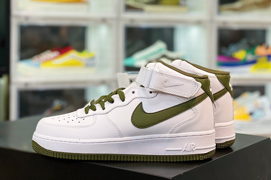 Nike Air Force 1 Mid 07 White Olive Green New Sale