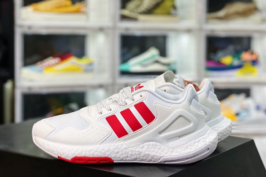 adidas Day Jogger White Red Lightweight Mesh Shoes New Sale